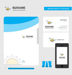 sunset business logo file cover visiting card and vector image