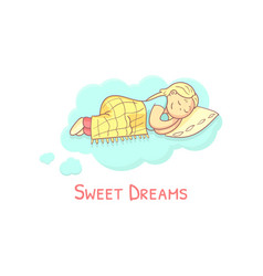 Sweet dreams banner template with adorable vector