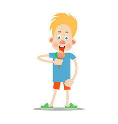 the boy is eating ice cream vector image vector image