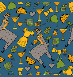 The cute hand-drawn seamless pattern of a lama vector