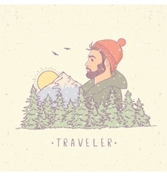 Traveler mountain color vector