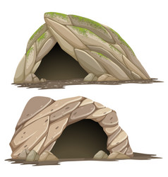 Two different caves on white background vector