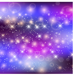 unicorn night galaxy background with rainbow mesh vector image