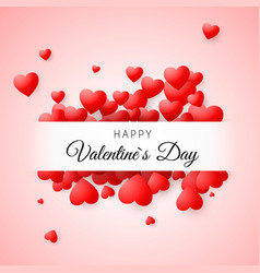 valentines day greeting card confetti red heart vector image vector image