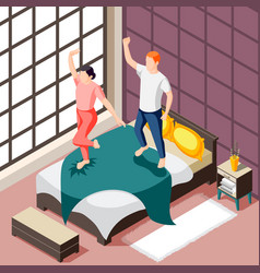 weekend home morning isometric vector image
