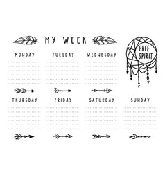 Weekly planner in boho style with arrows vector