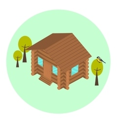 Wood log isometric house icon vector