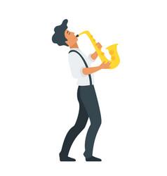 Young saxophone musician vector