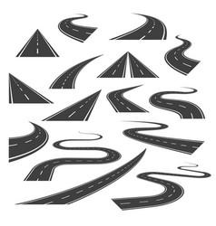 big set of asphalt road curves turns bankings vector image