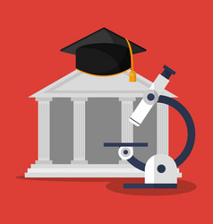 building microscope and graduation cap vector image vector image
