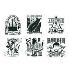 monochrome vintage barber shop logos set vector image