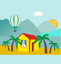 summer vacation - sea palm tree sun and beach vector image