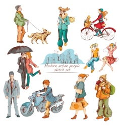 Urban people sketch colored vector image