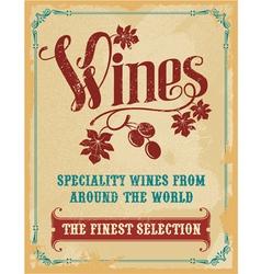 Vintage wine poster sign vector image