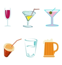 Alcohol drinks and cocktails in glasses vector image vector image