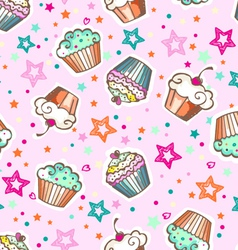 cute pink cupcakes vector image vector image
