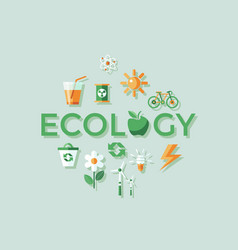 Digital red ecology icons vector