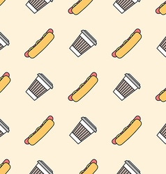 hot dog coffee hot paper cup colored outline vector image