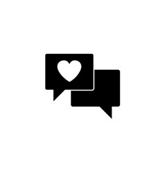 love chat solid icon heart in speech vector image vector image