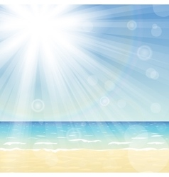 Ocean landscape with bright sun vector image