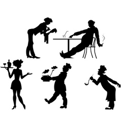 Silhouettes of people the restaurant business vector image