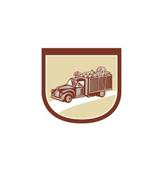 Vintage Pickup Truck Delivery Harvest Shield Retro vector image vector image