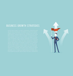 Business growth strategies oncept businessman hold vector