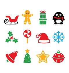 Christmas icons set - Santa xmas tree present vector image