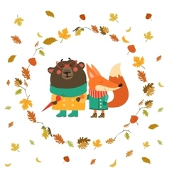 Cute fox and bear walking in wreath of autumn vector