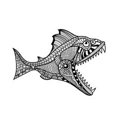 Deep water predator fish attacking vector image vector image