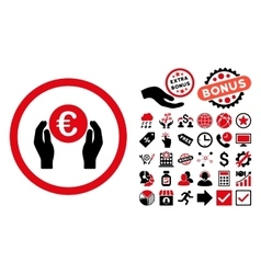 Euro Insurance Hands Flat Icon with Bonus vector image vector image