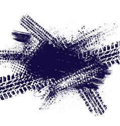 ink splash with tire tracks vector image