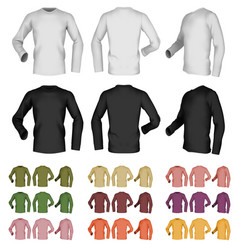 long sleeve blank male t-shirt template front vector image