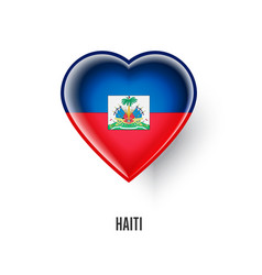 patriotic heart symbol with haiti flag vector image