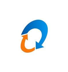 circle oval arrow abstract recycle logo vector image vector image