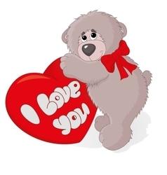 cute teddy bear with a heart vector image vector image