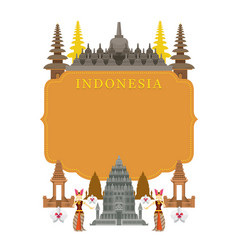 indonesia landmarks traditional dance frame vector image vector image