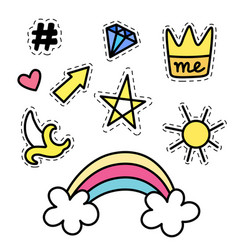Set of fashion stickers with rainbow star crown vector