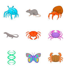 Study of fauna icons set cartoon style vector
