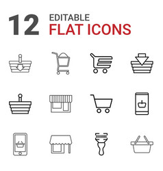 12 supermarket icons vector image