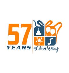 57 year gift box ribbon anniversa vector image