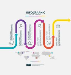 6 steps business infographic timeline design vector