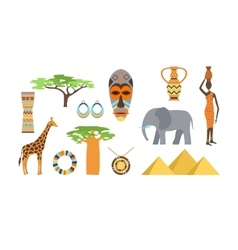 Africa symbols and travel set vector image