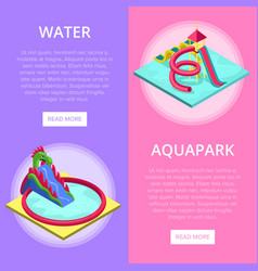 Aquapark water slides isometric vertical flyers vector