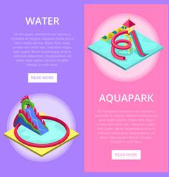 aquapark water slides isometric vertical flyers vector image