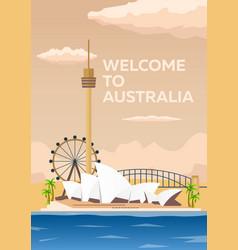 australia poster welcome to australia sydney vector image