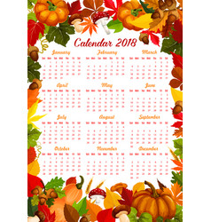 Autumn harvest fall 2018 calendar vector