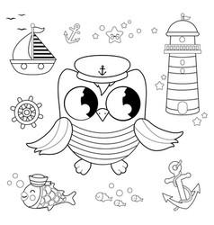 basailor owl marine nautical set vector image