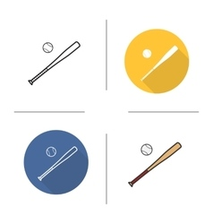 Baseball bat and ball flat design linear and vector image