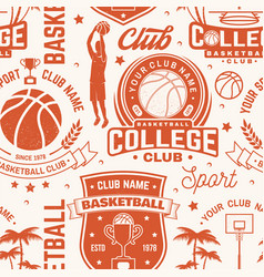 basketball club seamless pattern or background vector image